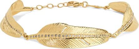 Jacquie Aiche Feather 14-karat gold diamond bracelet