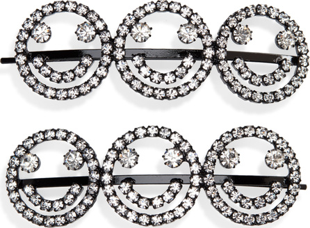 Ashley Williams Set of 2 Smiley Face Crystal Hairpins