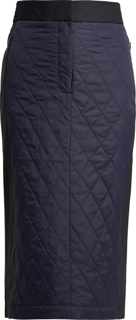 Tibi Quilted-nylon and twill pencil skirt