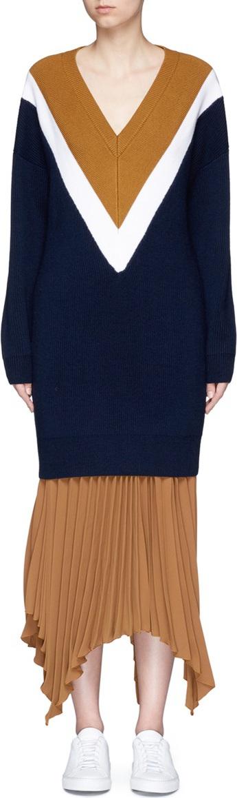 Comme Moi Colourblock silk-blend rib knit dress