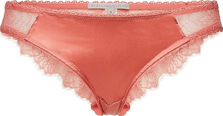 Stella McCartney Gigi Giggling Silk Bikini Bottoms with Lace