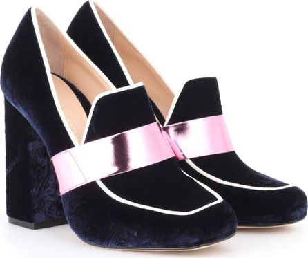 Mary Katrantzou Athos velvet loafer pumps