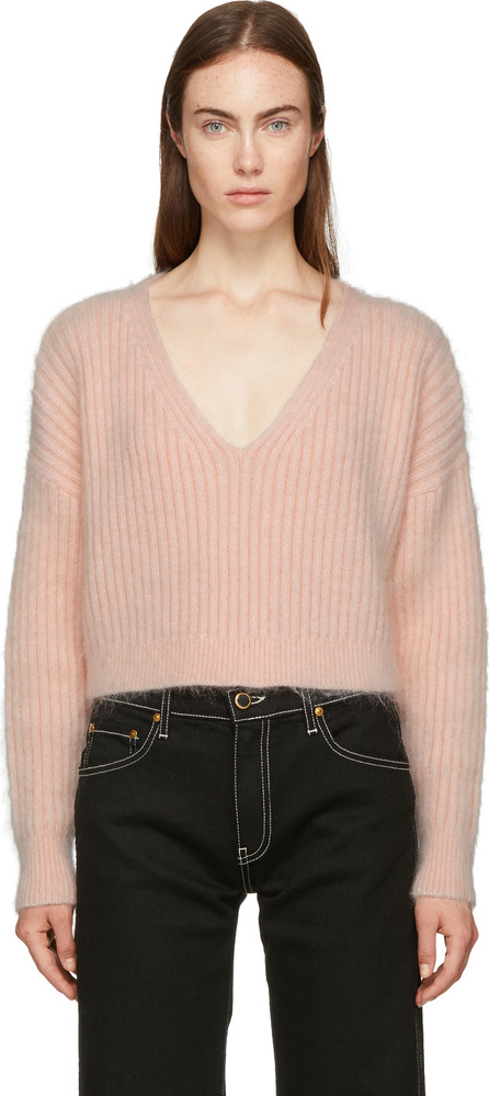 3.1 Phillip Lim Pink Mohair Cropped Sweater