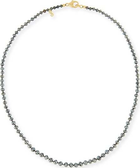 Splendid Faceted Round Black Diamond Necklace, 18""