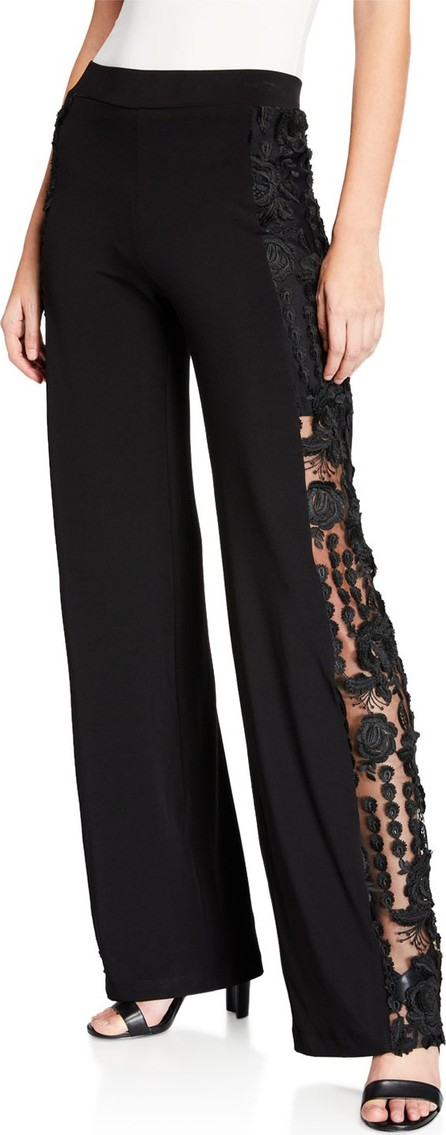 Anatomie Alexa Pull-On Jersey Pants w/ Lace Panel