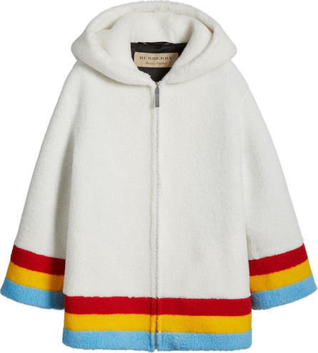 Burberry London England Striped Detail Faux Shearling Hooded Jacket