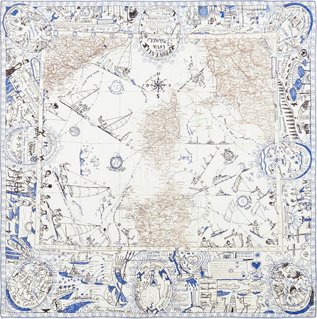 Faliero Sarti 'Holiday' map print silk twill scarf