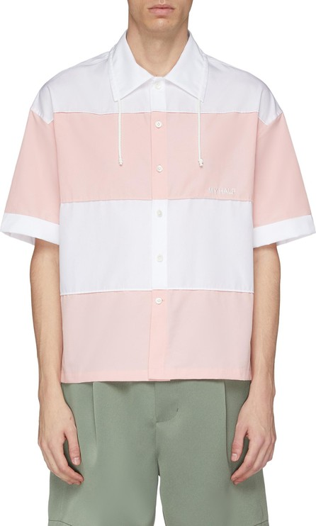 Feng Chen Wang Drawstring collar stripe short sleeve shirt