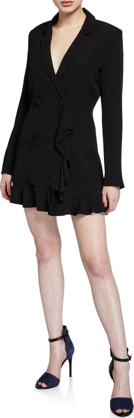 Bardot Kaya Button-Front Ruffle Blazer Dress