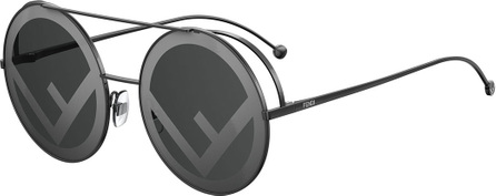 Fendi Round Logo-Lenses Sunglasses