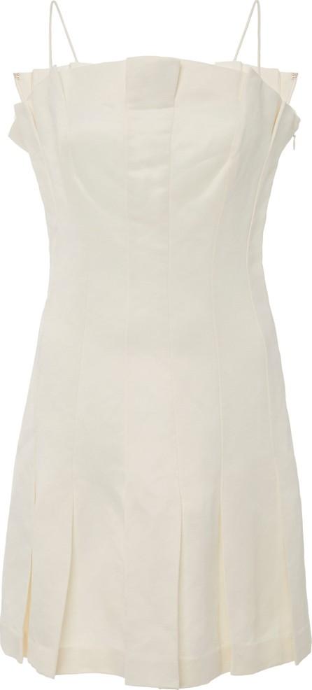 AMUR Joy Pleated Linen-Blend Mini Dress