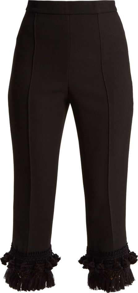 Andrew Gn Tassel-hem wool-blend crepe cropped trousers