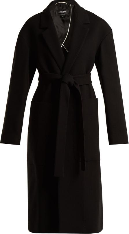 ROCHAS Tie-waist notch-lapel crepe coat