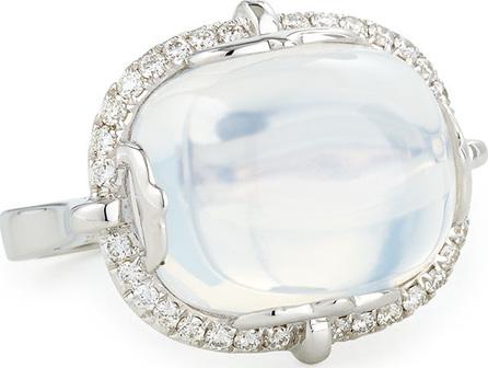 Goshwara 18K White Gold Moon Quartz & Diamond Ring