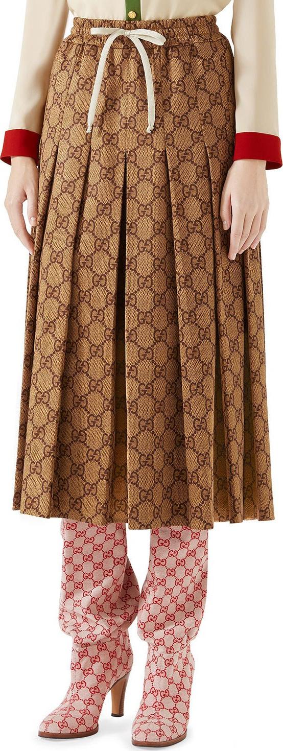 149101b684740 Gucci GG-Print Technical Jersey Pleated Midi Skirt - Mkt