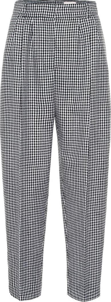 Alexander McQueen Cropped houndstooth wool pants