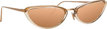 Linda Farrow Slim Two-Tone Cat-Eye Mirrored Sunglasses, Dark Beige