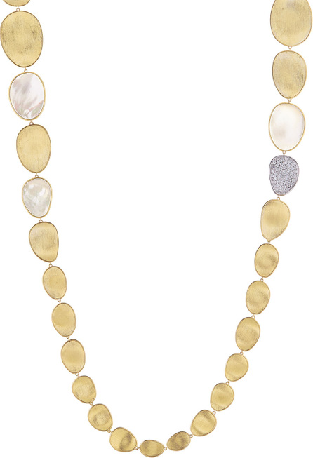Marco Bicego Lunaria Long Mother-of-Pearl Station Necklace with Diamonds, 39""