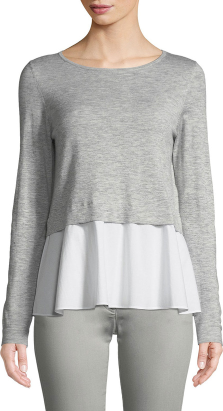 Escada Sport Long-Sleeve Pullover Top w/ Poplin Hem