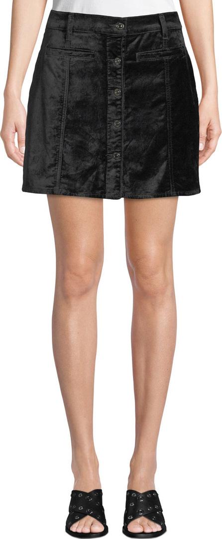7 For All Mankind Button-Front Velvet Mini Skirt