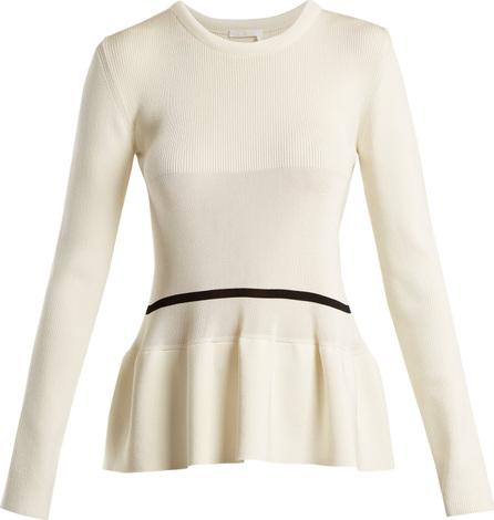 Chloe Peplum-hem striped-detail sweater
