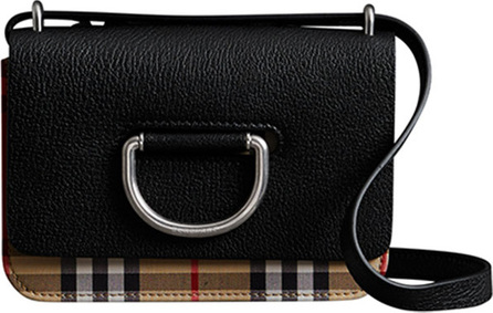 Burberry London England Mini D-Ring Check Crossbody Bag