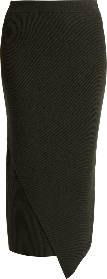 Allude Ribbed wool and cashmere-blend midi skirt