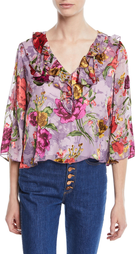 Alice + Olivia Cabella V-Neck Ruffle Floral-Print Top