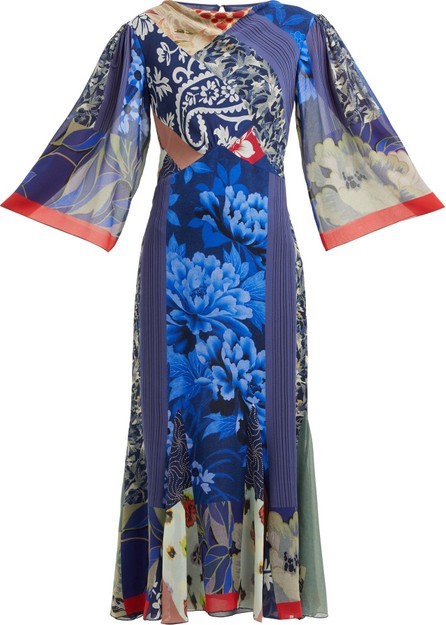 Etro Patchwork-print silk-chiffon dress