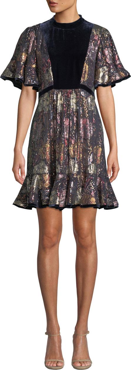 Rebecca Taylor Short-Sleeve Clip Velvet Flounce Dress
