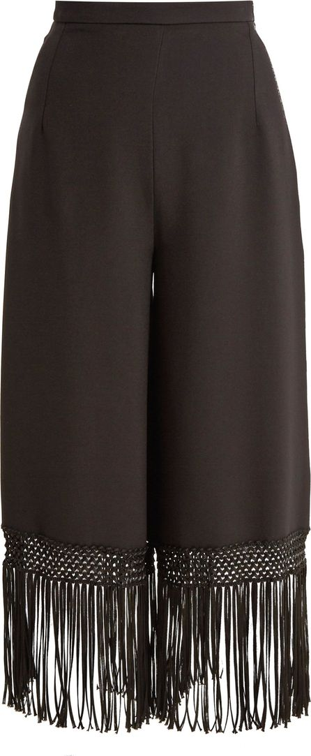 Andrew Gn Fringed-hem wide-leg crepe trousers