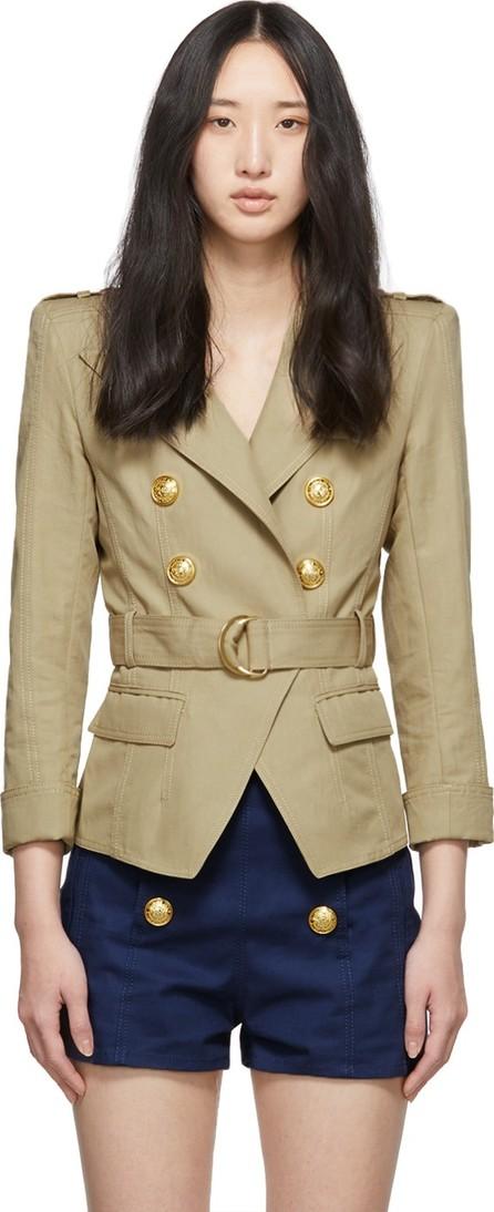 Balmain Beige Cotton & Linen Blazer