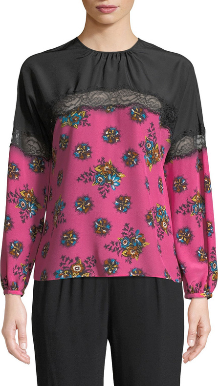 RED Valentino Bright Floral Print Silk Blouse