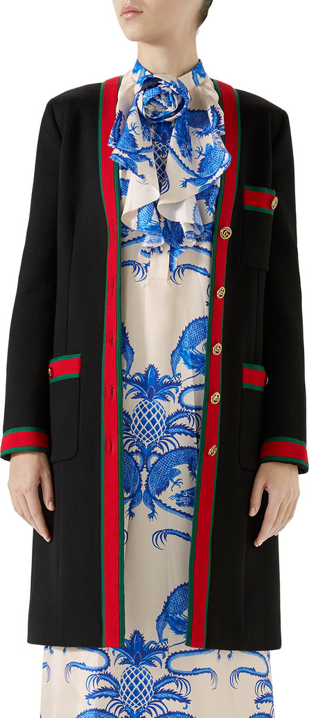 Gucci Single-Breasted Web-Trim 3-Pocket Wool Coat