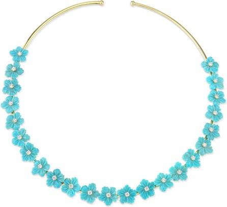 Cynthia Bach 18k Gold Turquoise & Diamond Flower Choker Necklace