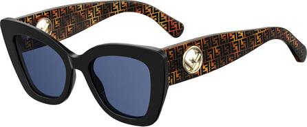 Fendi Polarized Square Acetate Sunglasses w/ FF Arms
