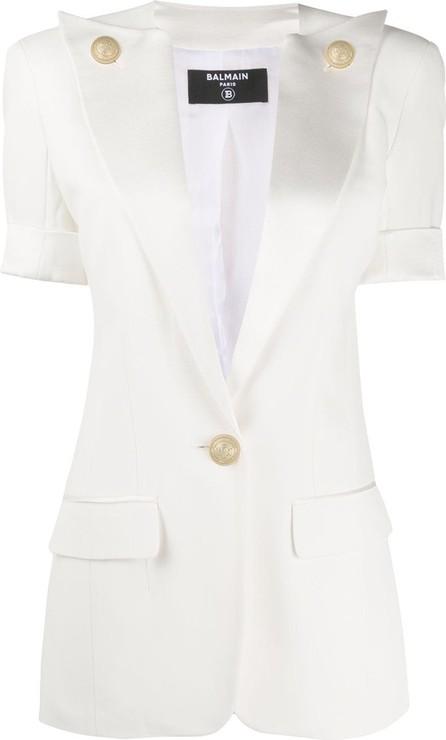 Balmain Oversized-lapel short-sleeve blazer