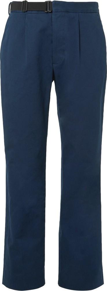 Maison Margiela Dark-Blue Pleated Cotton-Gabardine Chinos
