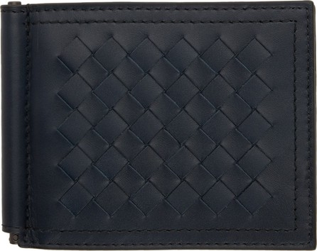 Bottega Veneta Navy Intrecciato Money Clip Wallet