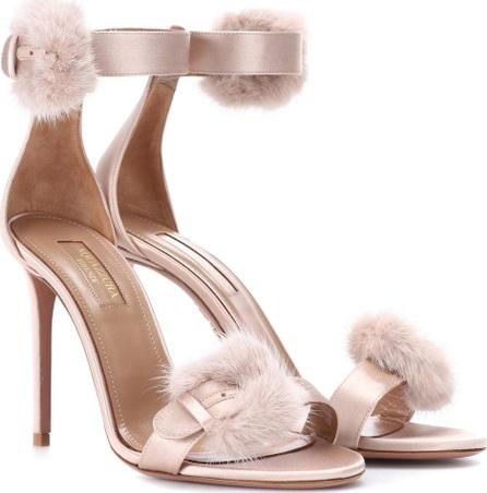 Aquazzura Sinatra 105 fur-trimmed sandals