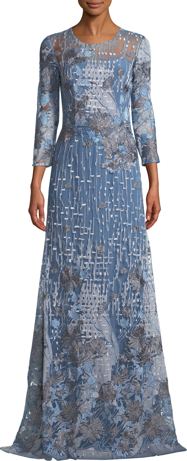 David Meister Embroidered Gown w/ Sheer Yoke in Grey - mkt