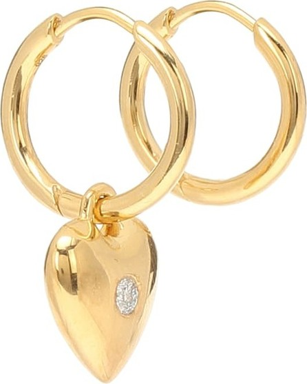 Theodora Warre Diamond Heart gold-plated earrings