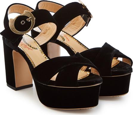 Charlotte Olympia Velvet Platfrom Sandals