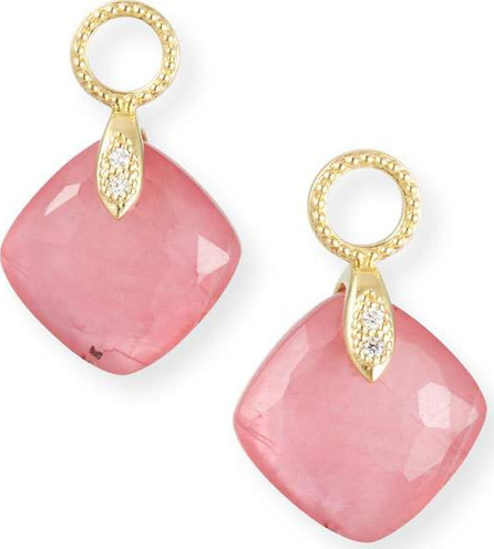 Jude Frances 18k Lisse Small Cushion Earring Charms, Pink Triplet