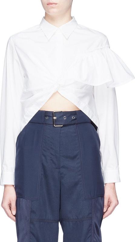 3.1 Phillip Lim Ruffle shoulder twist front high-low blouse