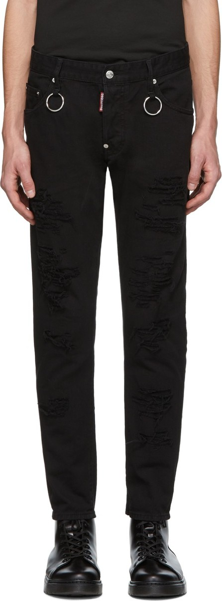 DSQUARED2 Black Rip Wash Rings Skater Jeans