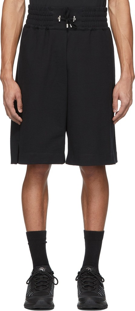 Balmain Black Flocked Logo Shorts