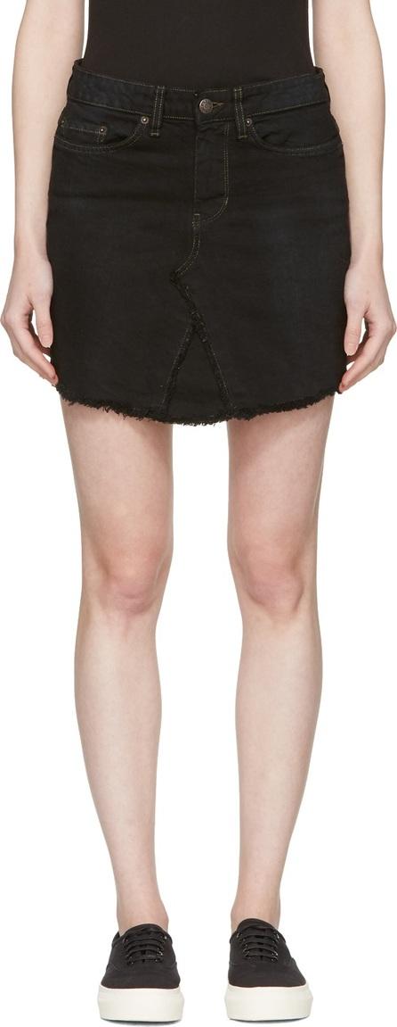 6397 Black Denim Miniskirt