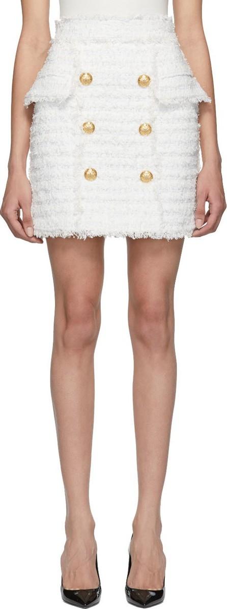 Balmain White & Gold Tweed High-Waisted Miniskirt