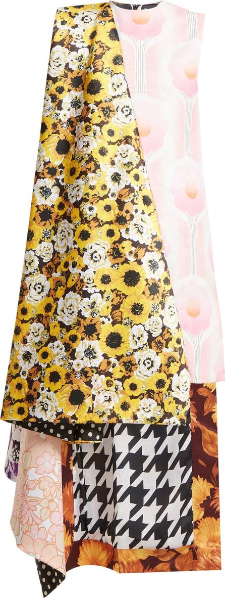 Richard Quinn Asymmetric floral-print panelled satin dress